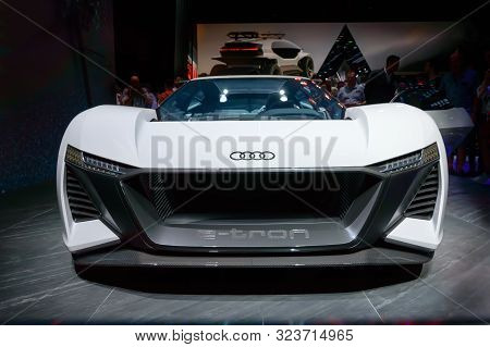 Frankfurt - Sep 15, 2019: New White Audi Ai:race Or Audi Pb18 E-tron Electric Supercar Concept - Lux
