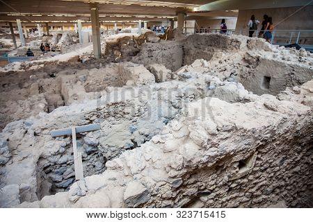 Santorini, Greece - April, 2018: Ancient Ruins At Akrotiri Archaeological Site