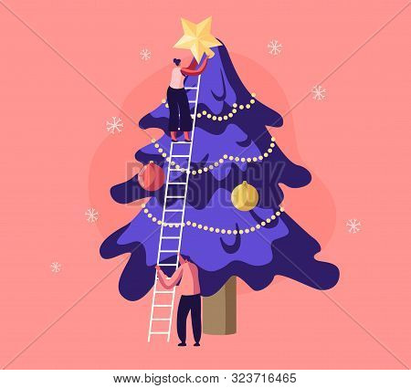 Happy Characters Decorate Christmas Tree. Young Man Holding Ladder, Woman Put Golden Star On Top. Co
