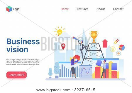 Business Vision Flat Landing Page Template. Company Promotion Website Design Layout. Business Develo