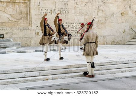 Athens.greece.may 31, 2019. The Ceremony Of Changing The Guard Of Honor At The Greek Parliament Buil