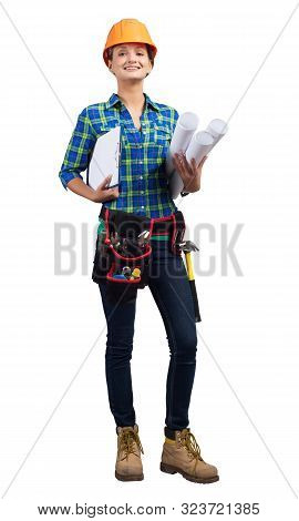 Smiling Civil Engineer In Safety Helmet Holding Paper Blueprints And Clipboard. Beautiful Woman Trai