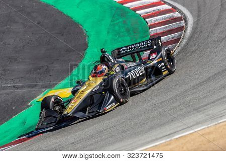 September 20, 2019 - Salinas, California, USA: JAMES HINCHCLIFFE (5) of Toronto, Canada  practices for the Firestone Grand Prix of Monterey at Weathertech Raceway Laguna Seca in Salinas, California.