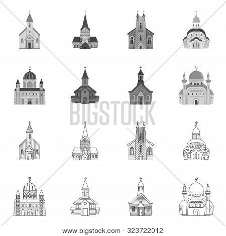 Vector Design Of Cult And Temple Sign. Set Of Cult And Parish Stock Vector Illustration.