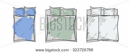 A Set Of Bed Linen Of Different Sizes. A Simple Sketch. Template For Demonstrating Patterns. Outline
