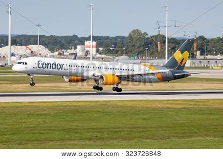 Munich / Germany - September 3, 2019: Thomas Cook Condor Airlines Boeing 757-300 D-abok Passenger Ch