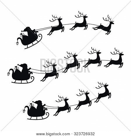 Collection Sleigh With Bag Of Gifts And Reindeers, Sled Of Santa Claus. Christmas Element With Cute