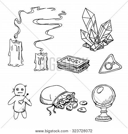 Hand Drawn Vector Set Of Fortune Taller Accessories For Soothsaying: Tarot Cards, Crystall Ball, Run