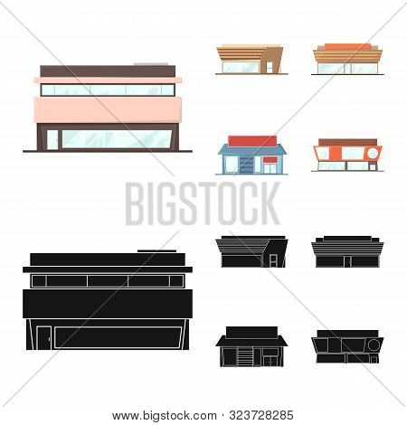 Isolated Object Of Boutique And Construction Logo. Set Of Boutique And Cityscape Vector Icon For Sto
