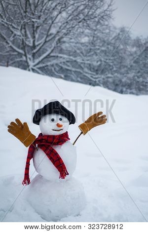 Snowman On A Background Snow-covered Fir Branches. Snowman In Snow Forest. Happy Funny Snowman In Th