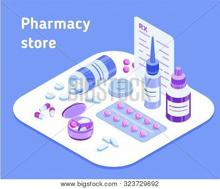 Pharmacy Store. Isometric Vector Illustration For A Pharmacy Website, Application Or Advertisement.