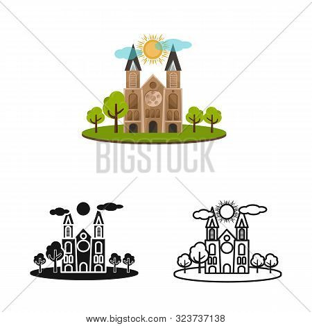 Isolated Object Of Chapel And Vietnamese Icon. Set Of Chapel And Cathedral Stock Symbol For Web.