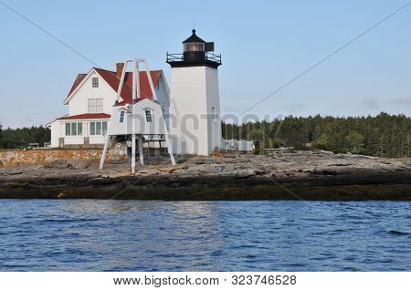 Hendricks Head Lighthouse Off The Coast Of Maine, Viewed From The Water
