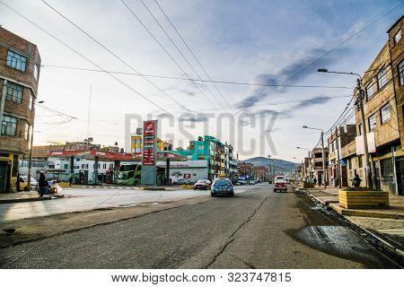 Puno,  Peru -January 6, 2019: Streets of Puno city in Peru. South America.