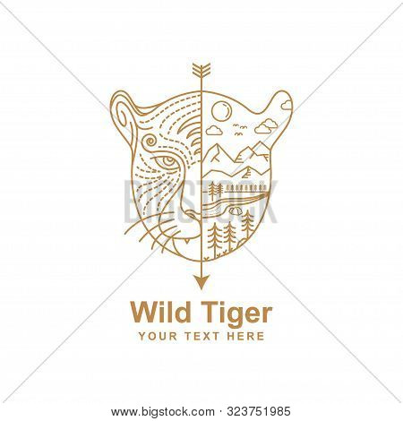 Tiger Line Art Design And Habitat Illustration In The Wild. Tiger Head Line Art Design Isolated Whit