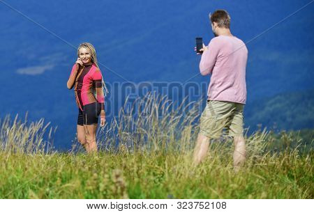 Snapping Memories. Man And Woman Posing Mobile Photo. Summer Vacation Concept. One More Shot. Travel