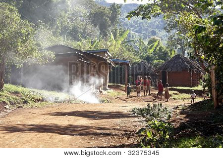 African Children in the streets of a rural African Village