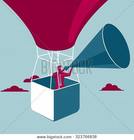Businessman Carrying Megaphone In Hot Air Balloon. Isolated On Blue Background.