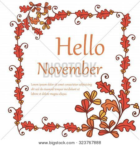 Design Element Of Card Hello November, With Sketch Autumn Leaves Frame. Vector