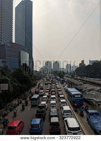 Jakarta, Indonesia -august 4, 2019 : Traffic On Jalan S Parman In Slipi District.