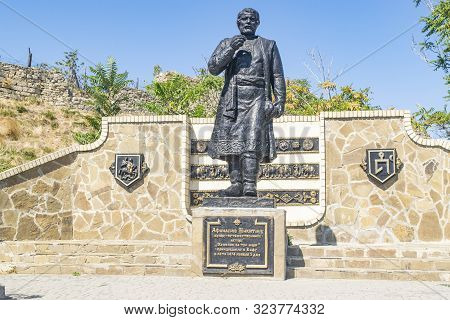 Feodosia, Crimea, Russia - September 11, 2019 Monument To Athanasius Nikitin.