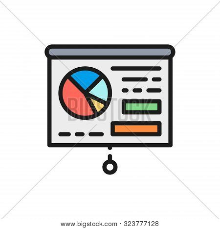 Vector Graph Presentation, Whiteboard, Training, Billboard Flat Color Line Icon.