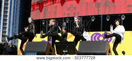 Las VEGAS - SEPT 21: Monsta X performs at the Daytime Village during the 2019 iHeartRadio Music Festival on September 21, 2019 at the Las Vegas Festival Grounds in Las Vegas, Nevada.