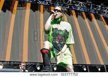 LAS VEGAS - SEPT 21: Billie Eilish performs at the Daytime Village during the 2019 iHeartRadio Music Festival on September 21, 2019 at the Las Vegas Festival Grounds in Las Vegas, Nevada.