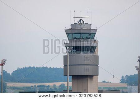 Zurich, Switzerland - July 19, 2018: Zurich airport control tower exterior at day time