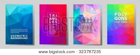 Facet Triangles Digital Brochure Covers Vector Graphic Design Set. Diamond Texture Low Poly Patterns