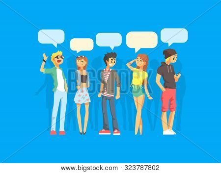 Young Fashionable People With Speech Bubbles, Girls And Guys Communicating With Each Other, People A