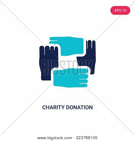 charity donation icon in two color design style.