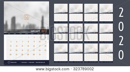 Vector 2020 New Year Calendar Planner Template Table Simple Style Navy Blue And Orange,holiday Event