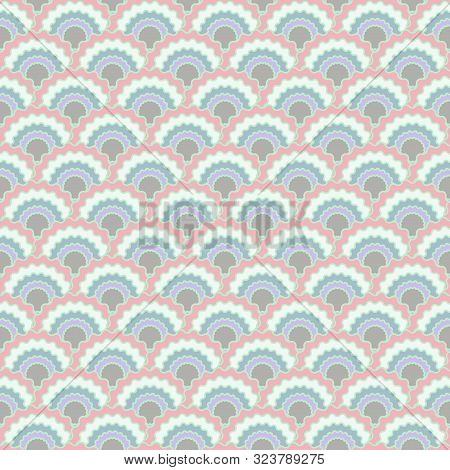 Abstract Fish Scales Squama Background, Vector Seamless Fabric Pattern, Tiled Textile Print. Classic
