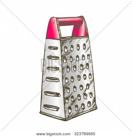 Grater Metallic Kitchenware Color Vector. Domestic Stainless Appliance Grater. Vegetable And Cheese