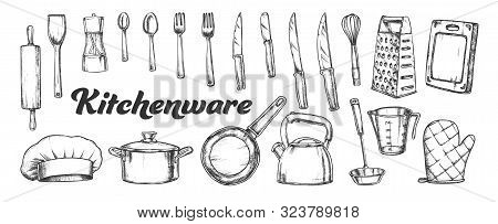 Kitchenware Utensils Collection Ink Set Vector. Spoons And Forks, Chef Hat And Scapula, Rolling Pin