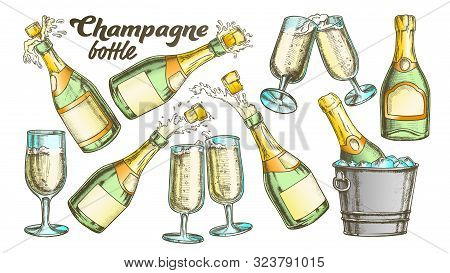 Champagne Bottle And Glass Color Set Vector. Collection Of Sparkling Winery Alcoholic Champagne And
