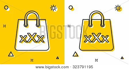 Black Shopping Bag With A Triple X Icon Isolated On Yellow And White Background. Random Dynamic Shap