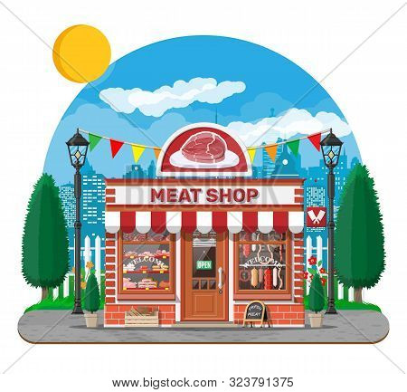 Vintage Butcher Shop Store Facade With Storefront. Meat Street Market. Meat Store Stall Showcase Cou
