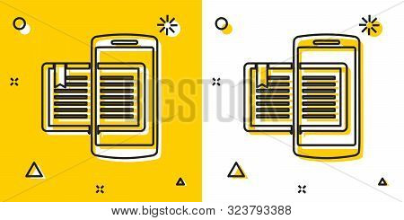 Black Smartphone And Book Icon Isolated On Yellow And White Background. Online Learning Or E-learnin
