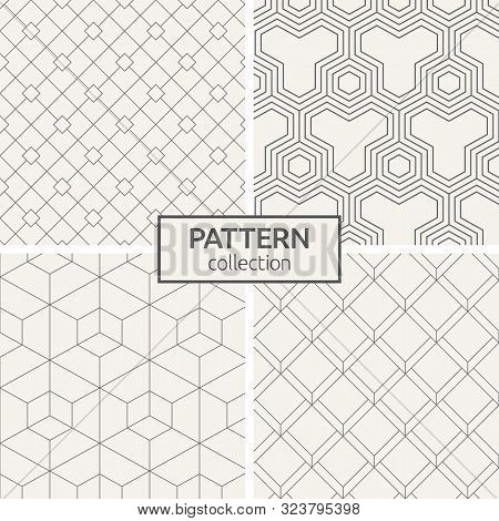 Set Of Four Seamless Patterns. Abstract Geometric Trendy Vector Backgrounds. Modern Stylish Textures