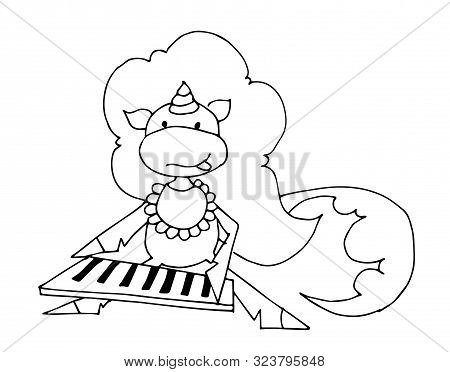 Coloring Book For Kids - Unicorn Baby Plays A Keyboard Dressed In A Bib. Fisherman. Black And White