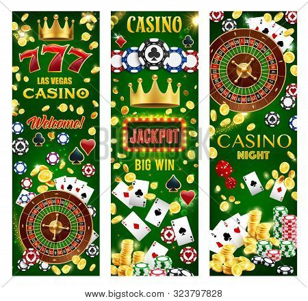Casino Gambling Games, Wheel Of Fortune And Poker Cards, Lucky Seven Jackpot, Roulette, Dice And Tok