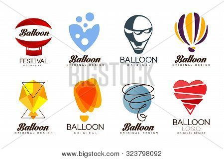 Balloon Original Design Set, Creative Logo For Corporate Brand Identity, Summer Holidays, Festival,