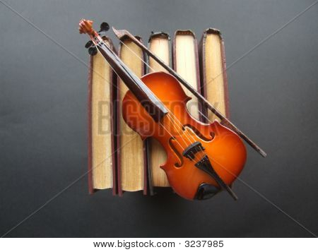 Small model fiddle on top of books on a black background poster
