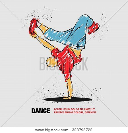 Breakdancer Dancing And Making A Frieze On One Hand. Vector Outline Of Breakdancer With Scribble Doo