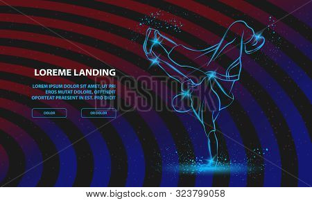 Breakdancer Dancing And Making A Frieze On One Hand. Vector Breakdance Background For Landing Page T