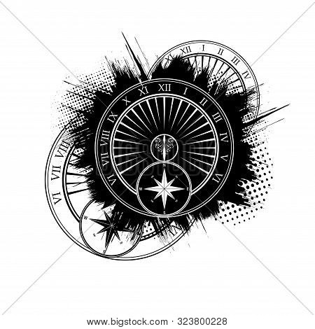 Abstract Black Grunge Splash With Different Design Elements Isolated On White Background
