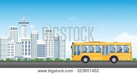 City Transport Service Bus With Passengers On Cityview Background. Public Transport Vector Illustrat