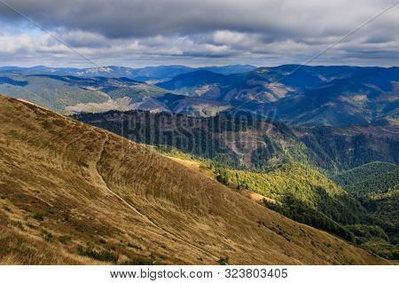 View Of The Carpathian Mountains From The Top Of Mount Strymba Near The Village Of Kolochava, Ukrain